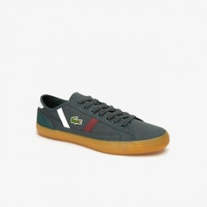 Mens Sideline Canvas and Two-Tone Leather Sneakers