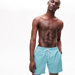 Mens Striped Seersucker Swim Trunks