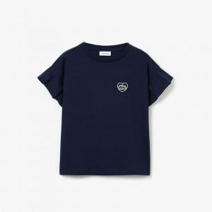 Girls' Ruffle Sleeve Heart and Croc Light Jersey T-Shirt