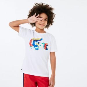 Boys' Crew Neck Multicolor Crocodile Cotton T-shirt
