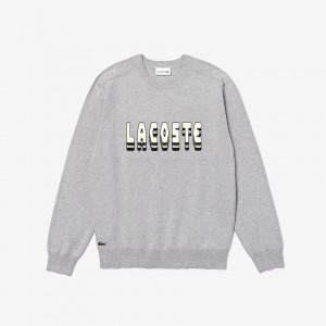 Mens 3D-Lettering Crewneck Cotton Blend Sweater