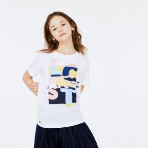 Girls Crew Neck Print Cotton T-shirt