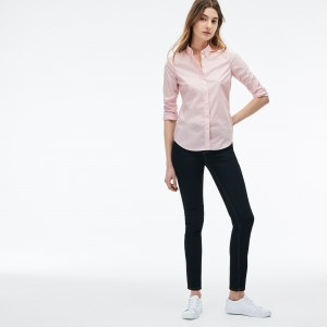 Womens Slim Fit Stretch Cotton Poplin Shirt