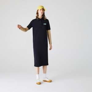 Womens Lacoste LIVE Straight Cut Badge Flowing Polo Dress