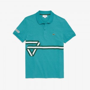 Mens Stripe Print Polo Shirt