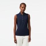 Womens Sleeveless Cotton Pique Polo