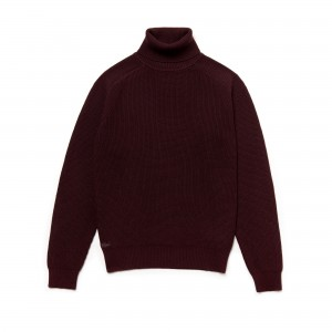 Mens Stand-Up Neck Honeycomb Wool And Cotton Sweater