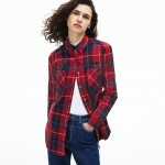 Womens Slim Fit Stretch Check Cotton Canvas Shirt