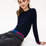 Womens Crew Neck Contrast-Stripe Silk and Cotton Sweater