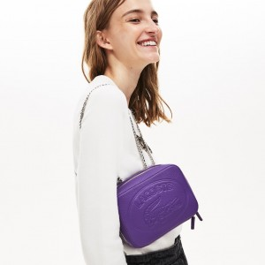 Womens Croco Crew Grained Leather Zip Shoulder Bag