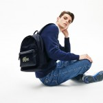 Mens L.12.12 Croco Magic Leather and Canvas Backpack