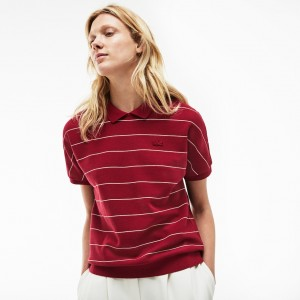 Womens Finely Striped Honeycomb Polo