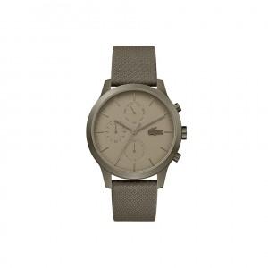 Mens Lacoste.12.12 Watch with Khaki Leather Petit Pique Strap
