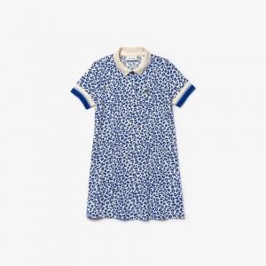 Girls' Leopard Print Cotton Petit Pique Polo Dress