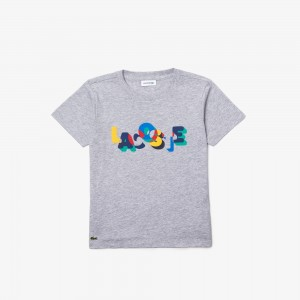 Boys' Crew Neck Lacoste Print Cotton T-shirt