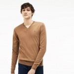 Mens V-neck Wool Jersey Sweater