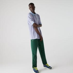 Mens LIVE Striped Cotton Pique Polo Shirt