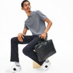 Mens L.12.12 Detachable Shoulder Strap Leather Computer Bag