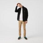 Mens Zippered Stand-Up Collar Pique Fleece Jacket