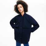 Womens Quilted Lining Long Wool Crepe Bomber Jacket