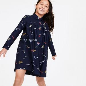 Girls Print Flounced Oxford Cotton Shirt Dress