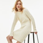 Womens Alpaga And Wool Cable Knit Sweater Dress