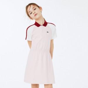 Girls Zippered Colorblock Cotton Polo Dress