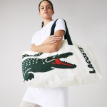Womens Oversized Crocodile Print Cotton Large Tote