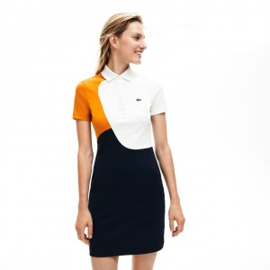 Womens Fitted Color-Block Cotton Polo Dress