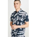Leaves Print Short Sleeve Slim Button Down Shirt