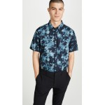 Photographic Floral Print Short Sleeve Button Down Shirt