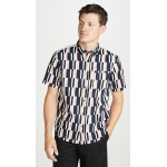 Slim Short Sleeve Button Down Broken Stripe Shirt
