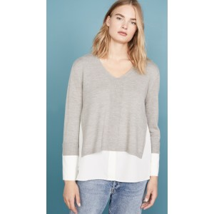 Mixed Media V Neck Sweater