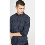 Slim Layered Wave Button Down Shirt