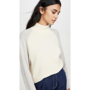 Colorblock Mock Neck Sweater