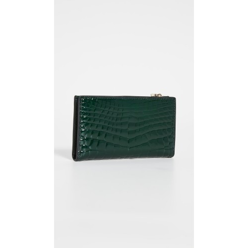 Sylvia Croc Embossed Small Slim Bifold Wallet