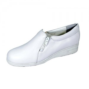 24 Hour Comfort  Bobbi Women Wide Width Classic Cushioned Leather Slip On Shoes with Zipper