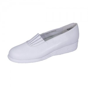 24 Hour Comfort  Katy Women Wide Width Comfortable Cushioned Leather Slip On Shoes with Designed Upper