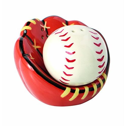 Design Imports Baseball Catchers Mitt Ceramic Salt and Pepper Shakers