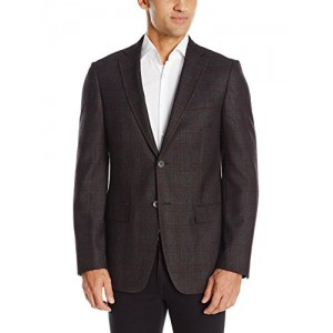 DKNY Men's Donahue Single Breasted Notch Lapel Plaid Slim Fit Blazer