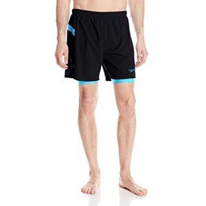 Speedo Men's Hydrosprinter with Compression Swimsuit Shorts Workout  Swim Trunks