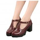 Xipai Women's T-Strap Platform Shoes Mid-Heel Vintage Oxfords Dress Shoes