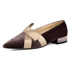 DANNEL Pointed Toe Women Bow Ballet Velvet Loafers Flats Slip-on Girl Shoes