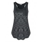 404cc4193bf9e Dimildm Women s Sleeveless Scoop Neck Loose Fit Color Block Casual Striped  Racerback Workout Tank Top