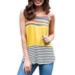 991572f9db705 Imily Bela Womens Summer Cami Tank Casual Striped Color Block Sleeveless  Tunic Blouses