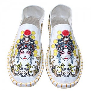 smart 4 Chinese Opera Faces Embroidery Casual Flat Shoes for Men and Women