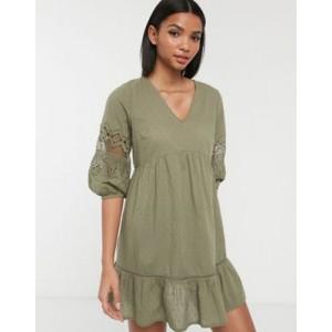 Accessorize mini beach dress with sleeve dealing in khaki