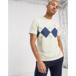 adidas Originals t-shirt with argyle print cream