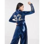 adidas Originals x Anna Isoniemi sequin three stripe high neck longsleeve in indigo