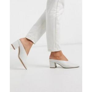 ALDO Asirari kitten heel mule shoe in white leather